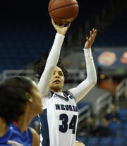 Nevada's Jade Redmon goes up to score against Boise State during Wednesday's game at Lawlor Events Center.