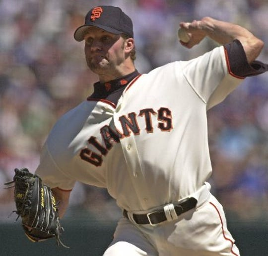 San Francisco Giants starting pitcher Shawn Estes delivers against the Florida Marlins on Aug. 16, 2001 in San Francisco. .