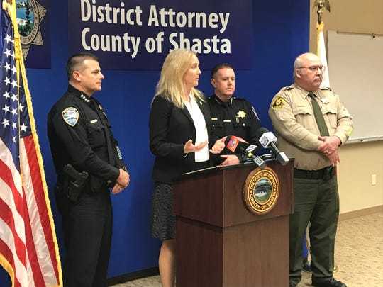 Shasta County District Attorney Stephanie Bridgett, second from left is seen in January 2019 alongside Redding Police Chief Roger Moore, from left, Anderson Police Chief Mike Johnson and Shasta County Sheriff Tom Bosenko.