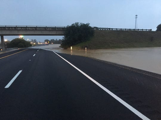 The southbound lanes of Interstate 5 at South Avenue in Corning are closed due to flooding.