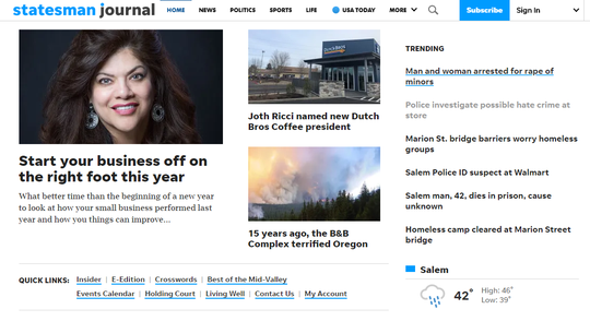 The new homepage layout of the Salem Statesman Journal.