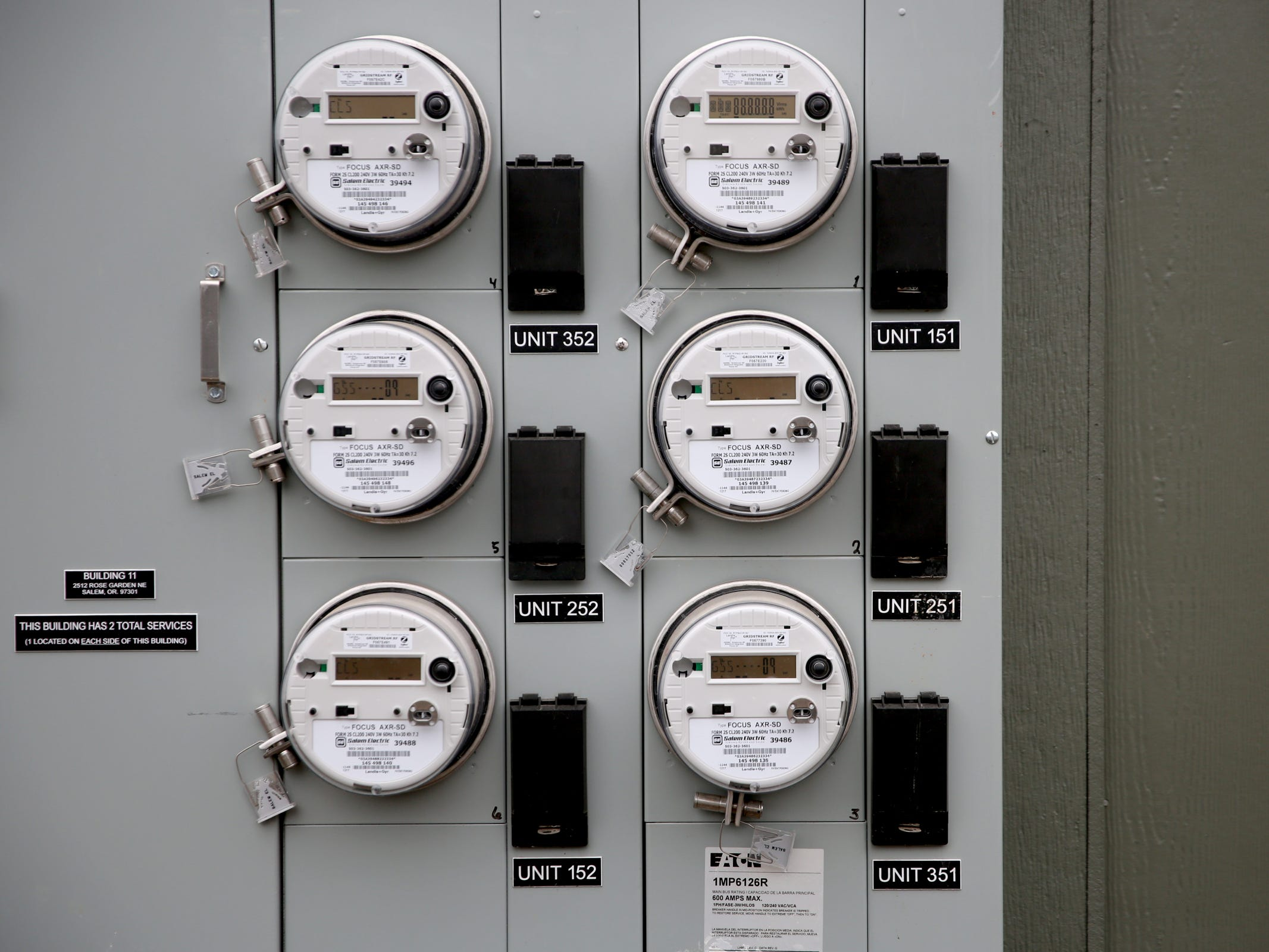 Electrical meters at the Cornerstone Apartments in Salem on Wednesday, Jan. 16, 2019. The state is looking to reduce the energy burden for low-income Oregonians, including tenants at Cornerstone, who must live at or less than 60 percent of the area's median household income.