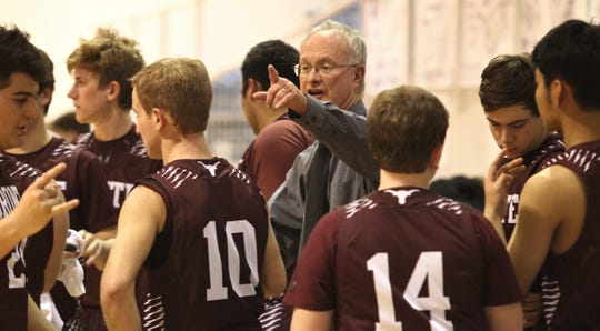Longtime Bronte boys head basketball coach, and now athletic director, Rocky Rawls instructs his team during a game recently against Irion County in Mertzon. Rawls was Irion County head coach John Morrow's coach when the pair took Bronte to the 1987 Class 1A boys state basketball tournament.