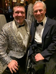 San Angelo's Terry Mikeska, left, poses with Texas Gov. Greg Abbott during the Legislative Black Tie Ball in Austin, where Mikeska was invited to play piano.