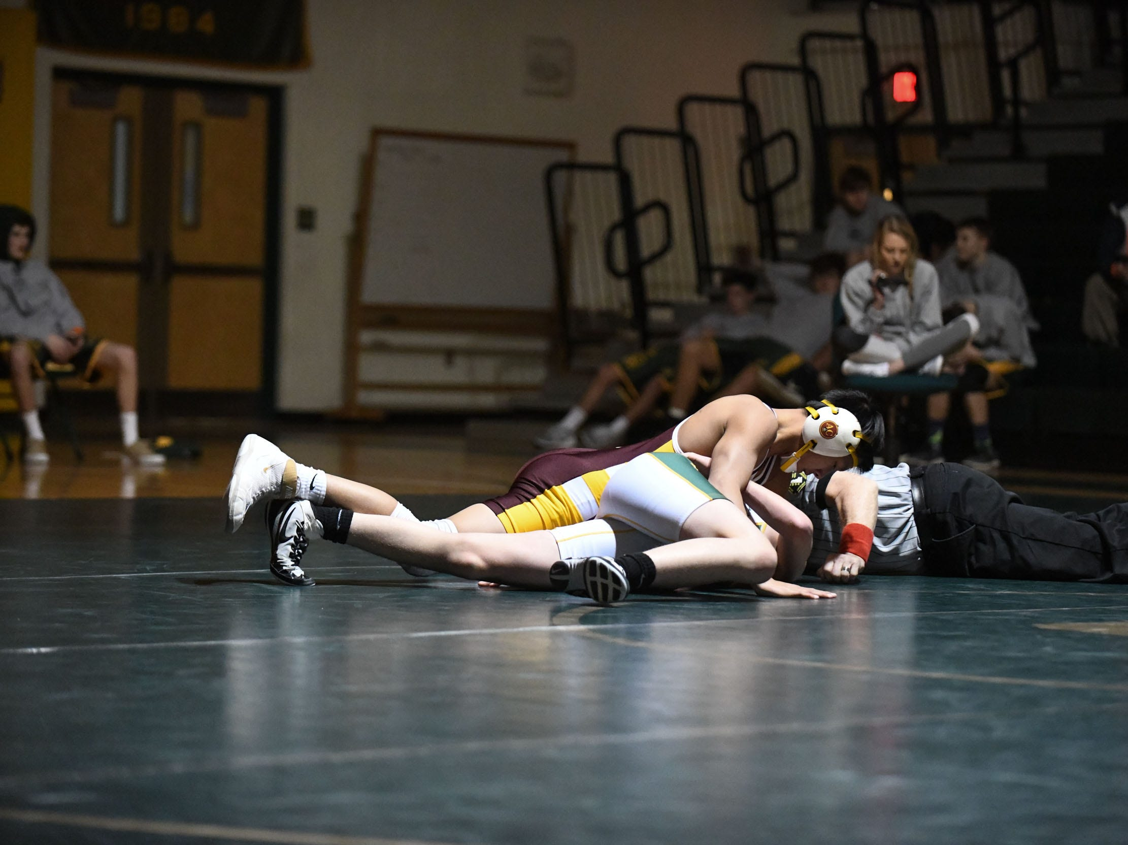 Indian River's Joshua Edwards battled Milford's Dominic Feightner during the 138lb match on Thursday, Jan 17, 2019 in Dagsboro, Del. Milford won the match 53-15.