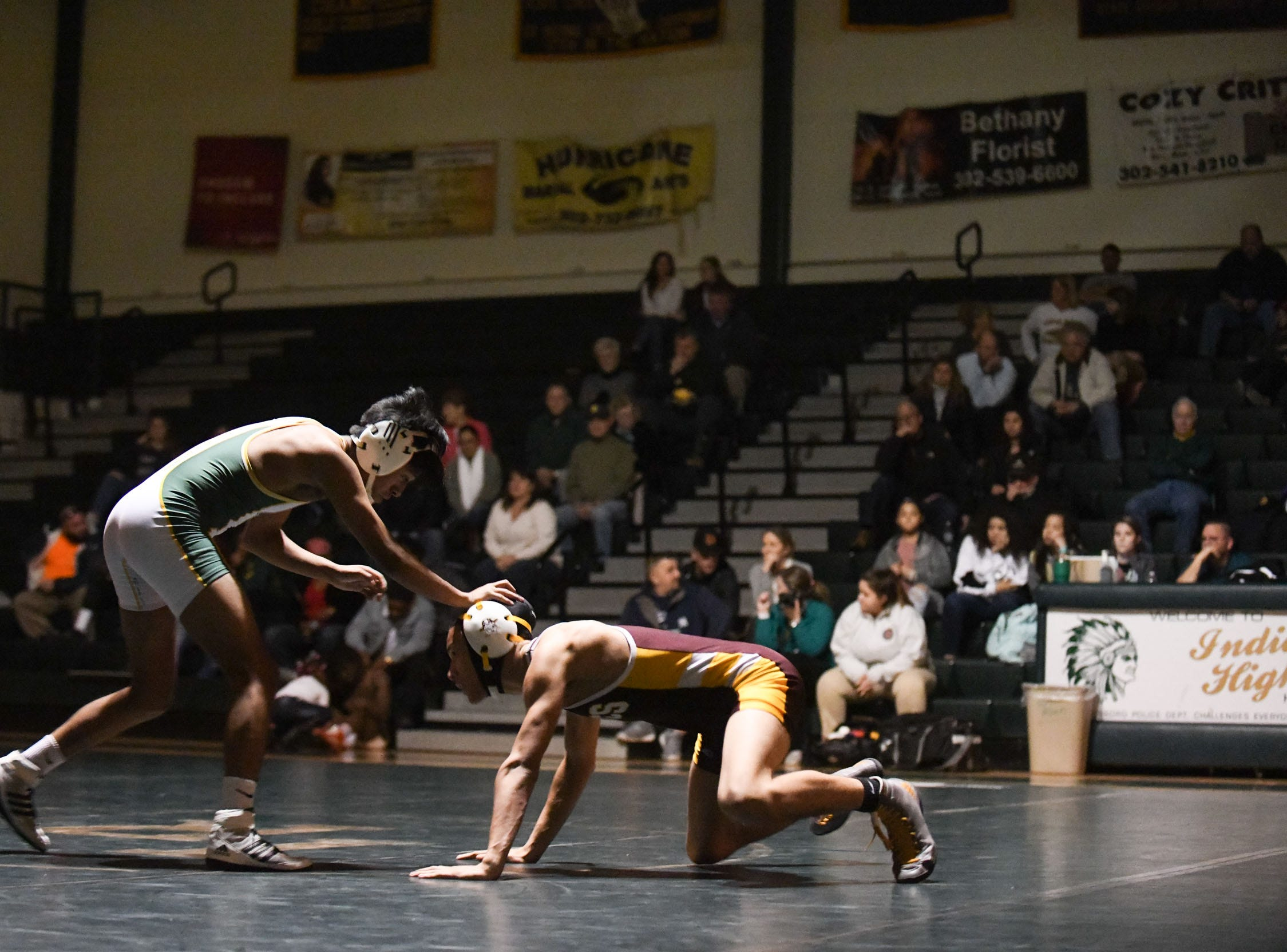 Indian River's Christian Galindo Lopez battled Milford's Averi Copes during the 132lb match on Thursday, Jan 17, 2019 in Dagsboro, Del. Milford won the match 53-15.