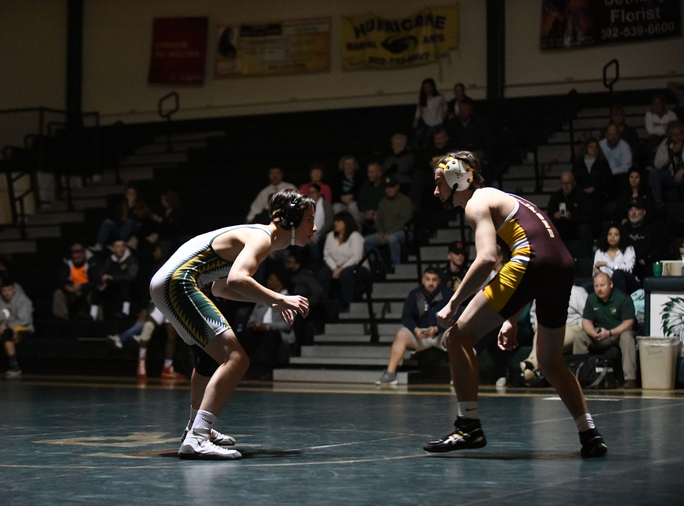 Indian River's Cody Edwards battled Milford's Jordan Passwaters during the 145lb match on Thursday, Jan 17, 2019 in Dagsboro, Del. Milford won the match 53-15.