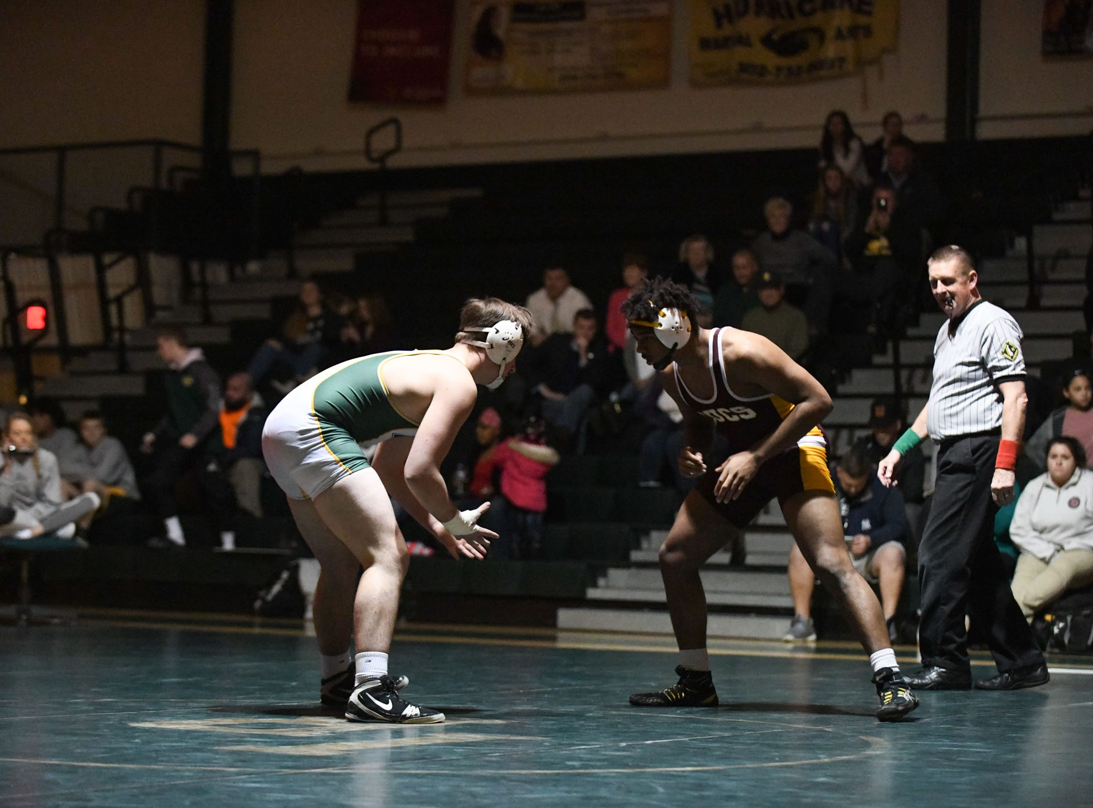 Indian River's Zach Schultz battled Milford's Eric Bennett during the 195lb match on Thursday, Jan 17, 2019 in Dagsboro, Del. Milford won the match 53-15.