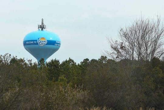 "The ""Welcome to Ocean City"" water tower can be seen as you ride over the Rt. 90 Bridge into Ocean City, Md."