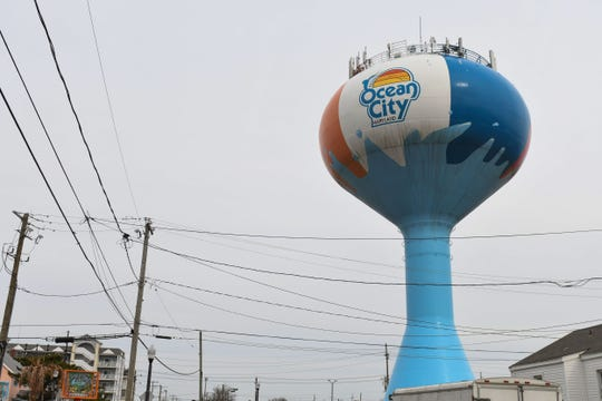 """The Ocean City """"Beach Ball"""" water tower located on 1st Street and St. Louis Ave. in downtown Ocean City, Md."""