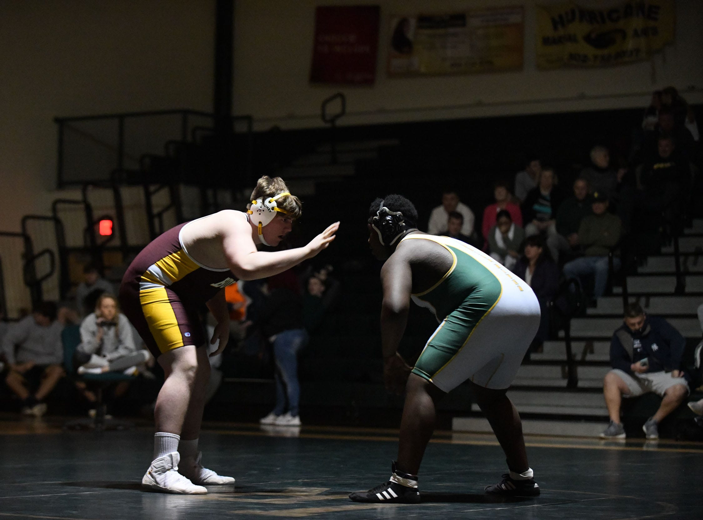 Indian River's R. Turner battled Milford's Jacob Bryant the 285lb match on Thursday, Jan 17, 2019 in Dagsboro, Del. Milford won the match 53-15.