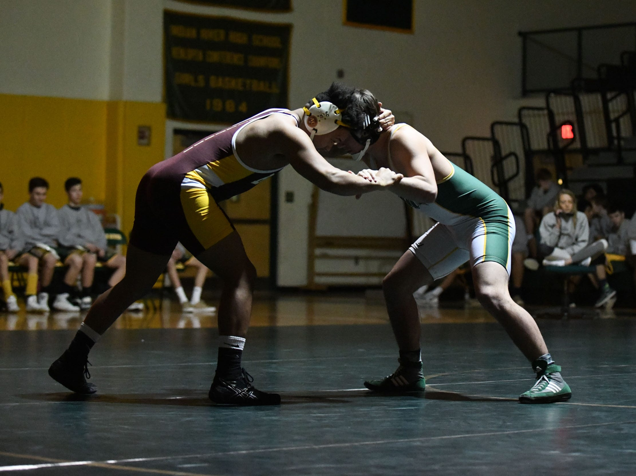 Indian River's William Keller battled Milford's Rafael Mejia during the 170lb match on Thursday, Jan 17, 2019 in Dagsboro, Del. Milford won the match 53-15.