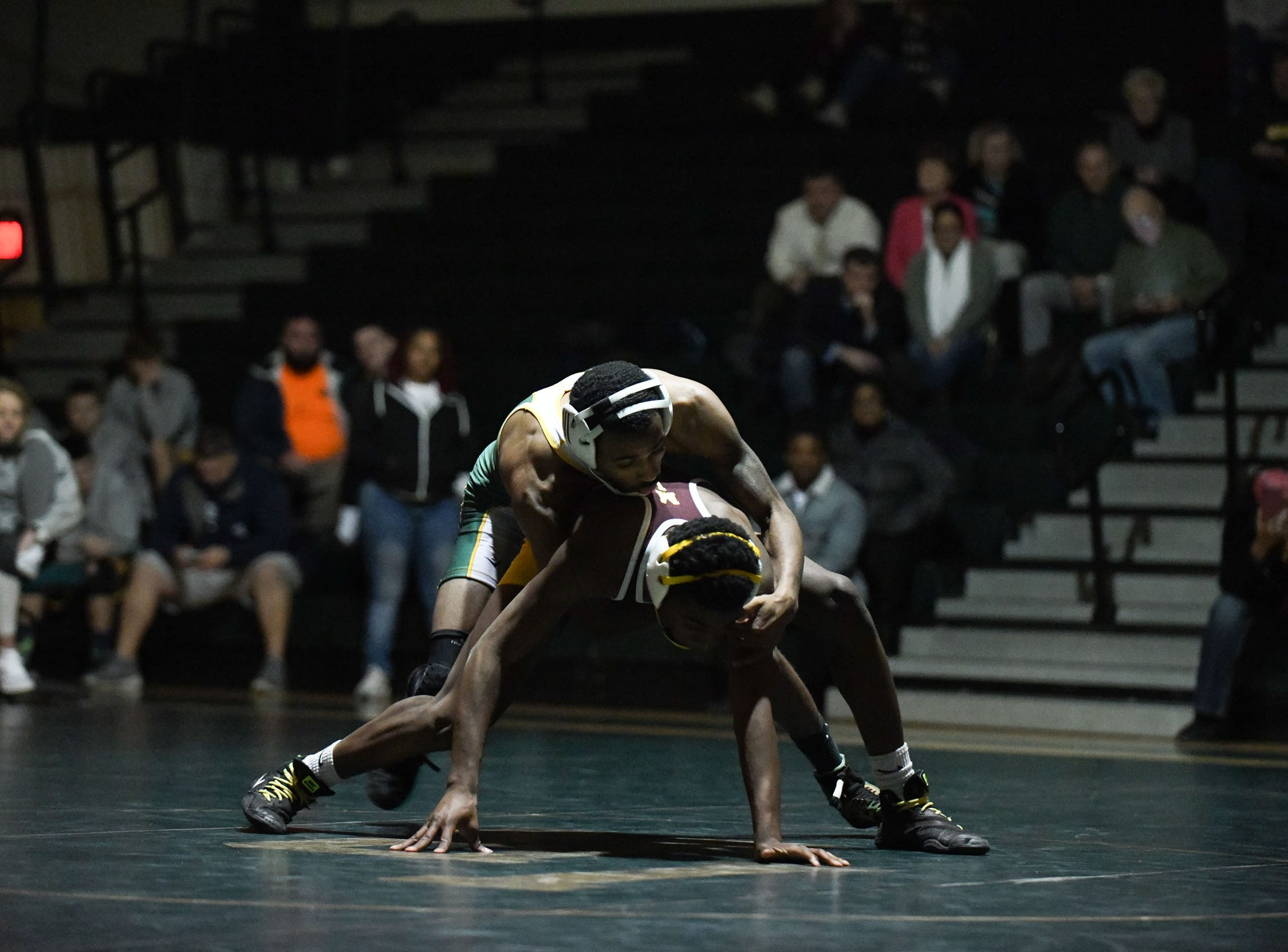 Indian River's Ta'Jon Knight battled Milford's Timothy O'Hara during the 126lb match on Thursday, Jan 17, 2019 in Dagsboro, Del. Milford won the match 53-15.
