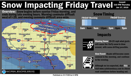 Amounts of snow expected on Friday, Jan. 18, 2019 in southeast South Dakota.