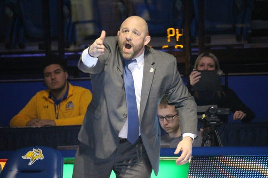 Damion Hahn gestures to the officials during last week's loss to Northern Iowa