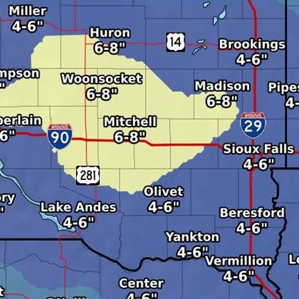 How much snow could Sioux Falls get on Friday?