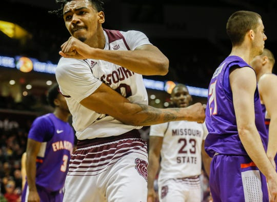 Tulio Da Silva (30), of Missouri State, celebrates after getting the basket and the foul during the Bears game against the Evansville Purple Aces at JQH Arena on Wednesday, Jan. 16, 2019.