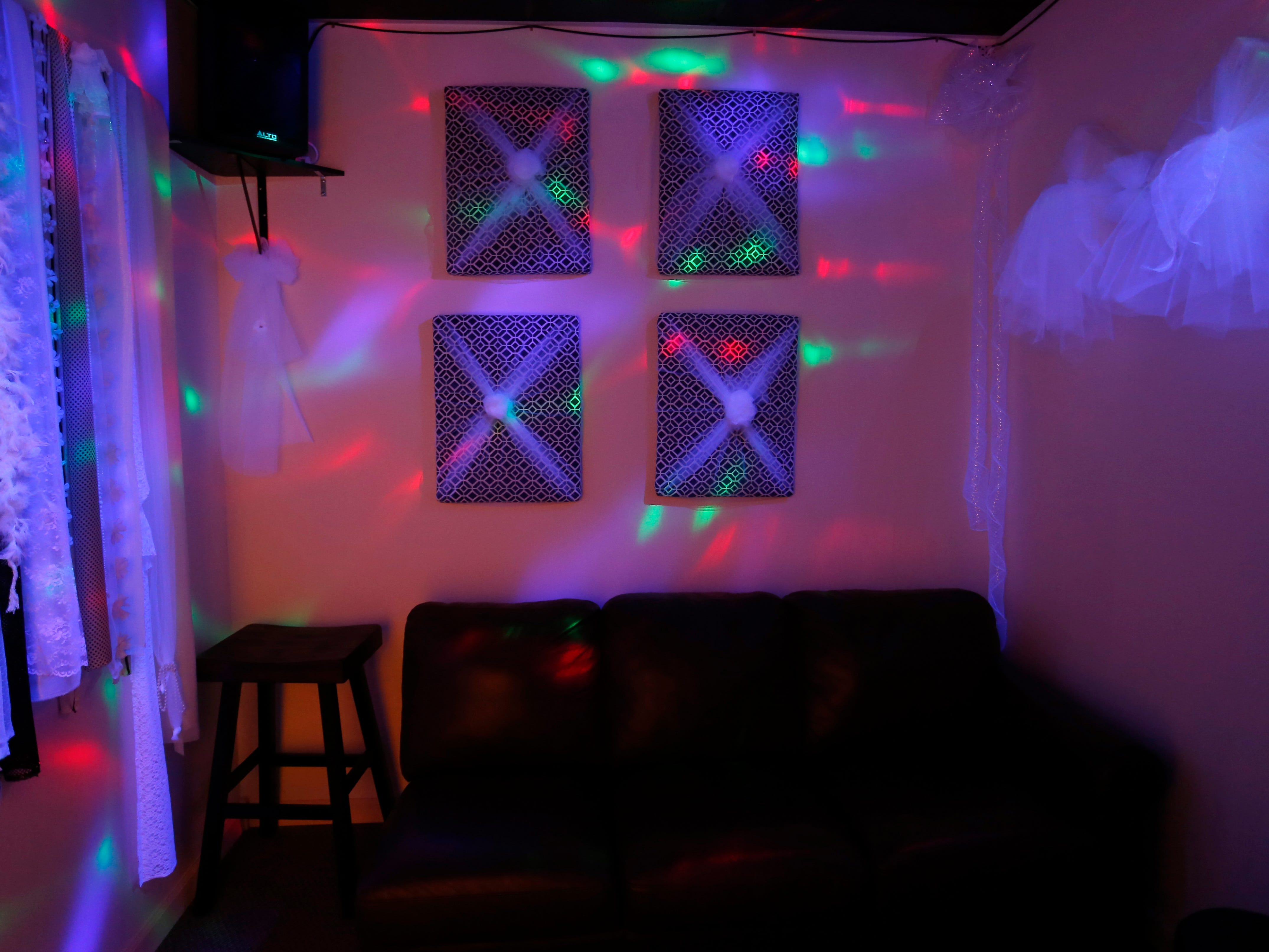Lights dance on the walls in one of the private karaoke rooms at The Hangout, a new entertainment venue preparing to open on Glenstone Ave. on Wednesday, Jan. 16, 2019.