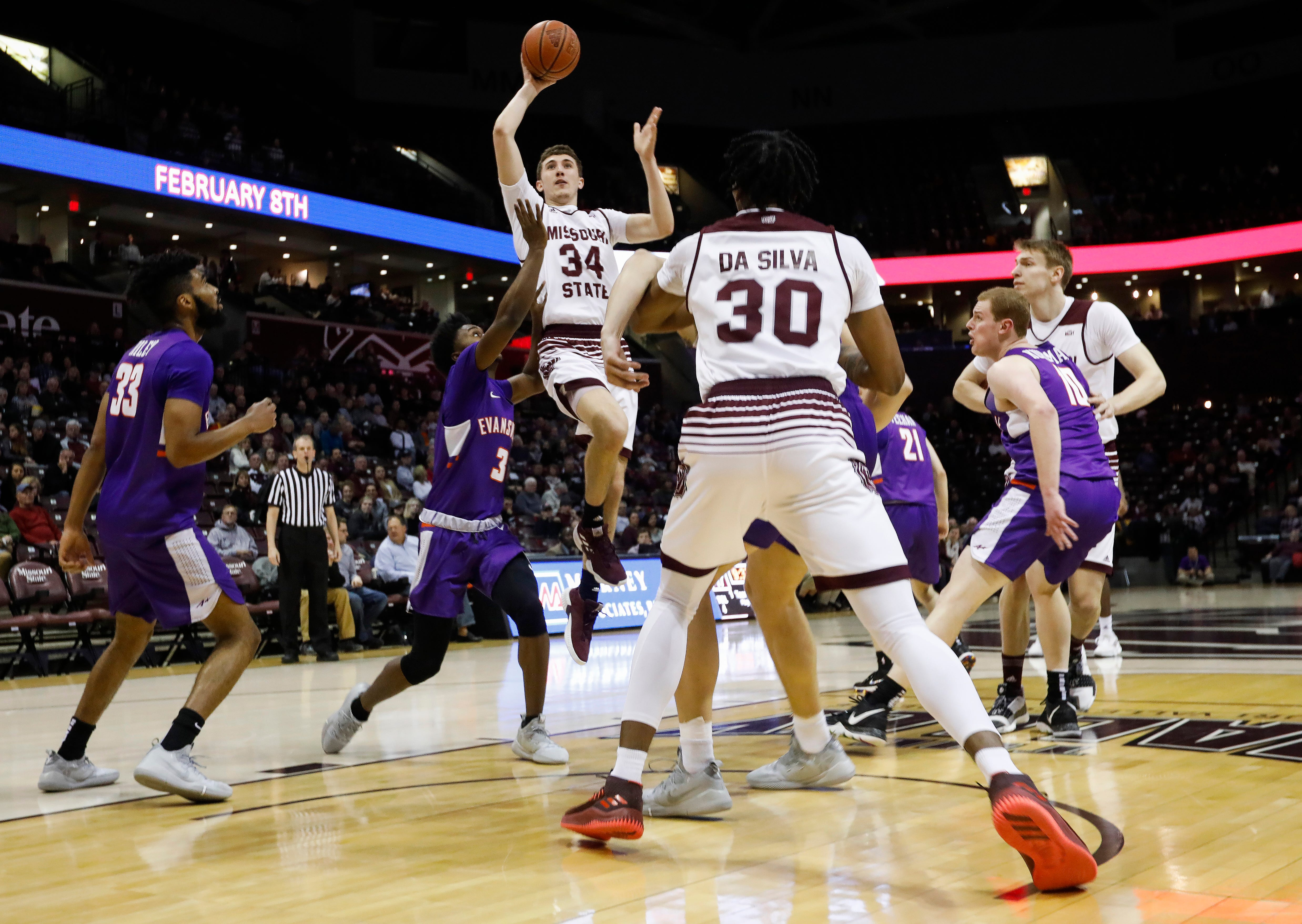 Jared Ridder (34), of Missouri State, puts up a shot during the Bears game against the Evansville Purple Aces at JQH Arena on Wednesday, Jan. 16, 2019.