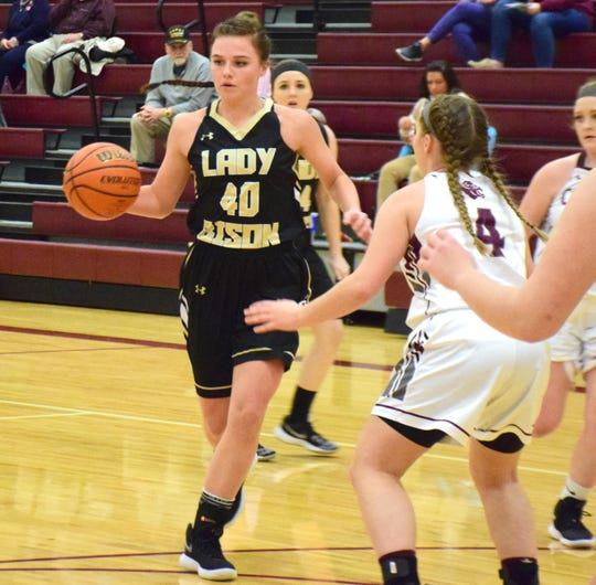 Buffalo Gap's Sydney Digman looks for a way to the basket as Stuarts Draft's defense converges during the first half of their Shenandoah District girls basketball game on Wednesday, Jan. 16, 2019, at Stuarts Draft High School in Stuarts Draft, Va.