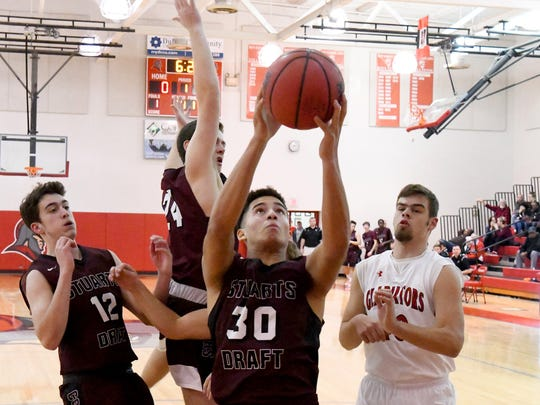 Stuarts Draft's Freddie Watkins looks to the basket to shoot during a game played in Greenville on Wednesday, Jan. 16, 2019.