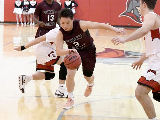 Stuarts Draft's Allen Wang moves the ball as he looks for a route to the basketduring a game played in Greenville on Wednesday, Jan. 16, 2019.