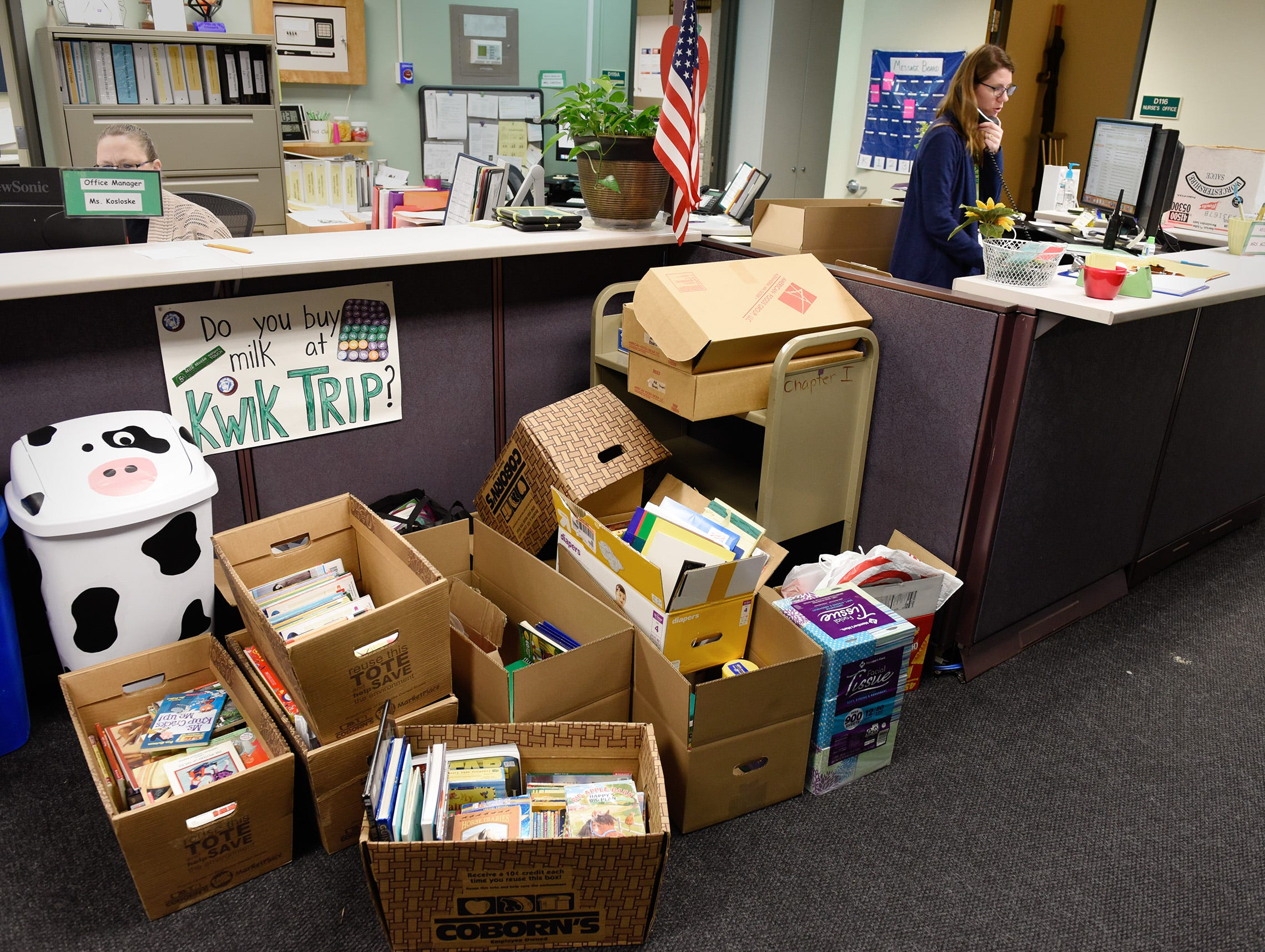 Donations were coming in all day Tuesday, Jan. 15, after a fire damaged four classrooms Sunday at Pleasantview Elementary School in Sauk Rapids.