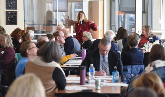 Data points for discussion are highlighted Wednesday, Jan. 16, during a community conversation on health care in Central Minnesota at the Sauk Rapids Government Center.