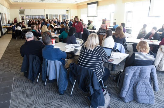 Participants gather Wednesday, Jan. 16, for  a community conversation on health care in Central Minnesota at the Sauk Rapids Government Center.