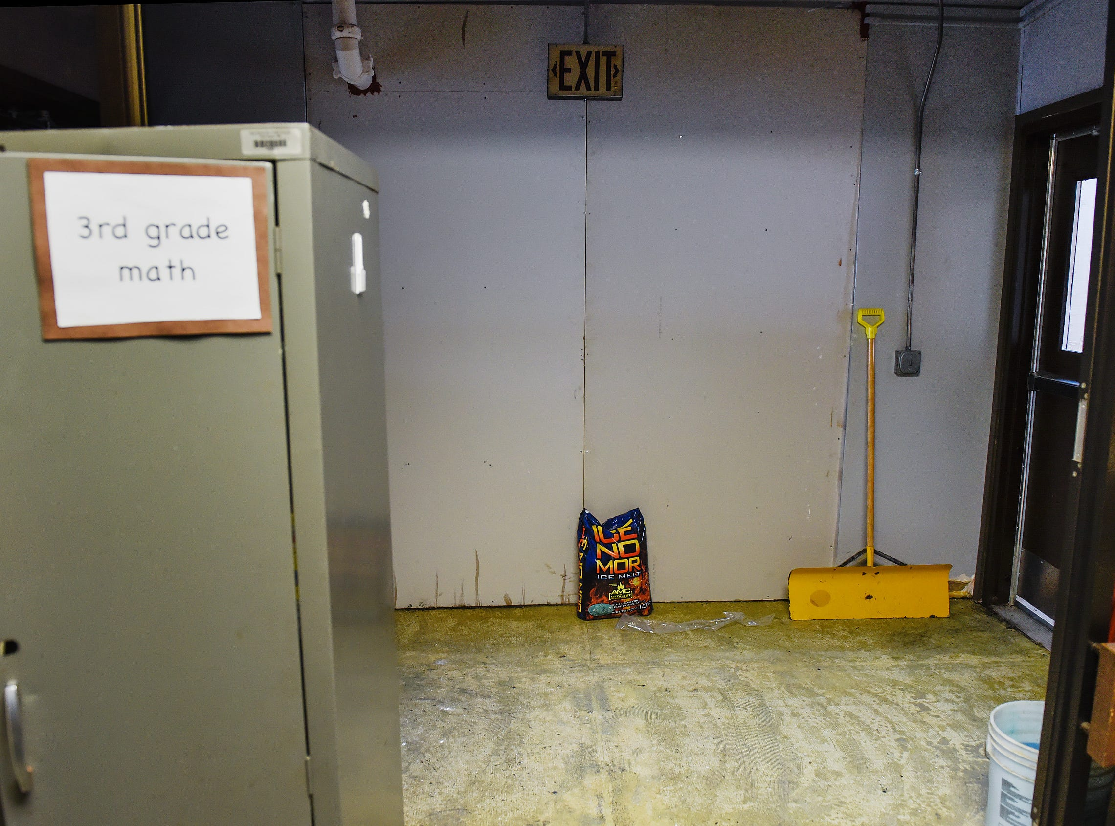 The entryway to the damaged classrooms has been sealed off from the rest of the school Tuesday, Jan. 15, at Pleasantview Elementary School in Sauk Rapids.