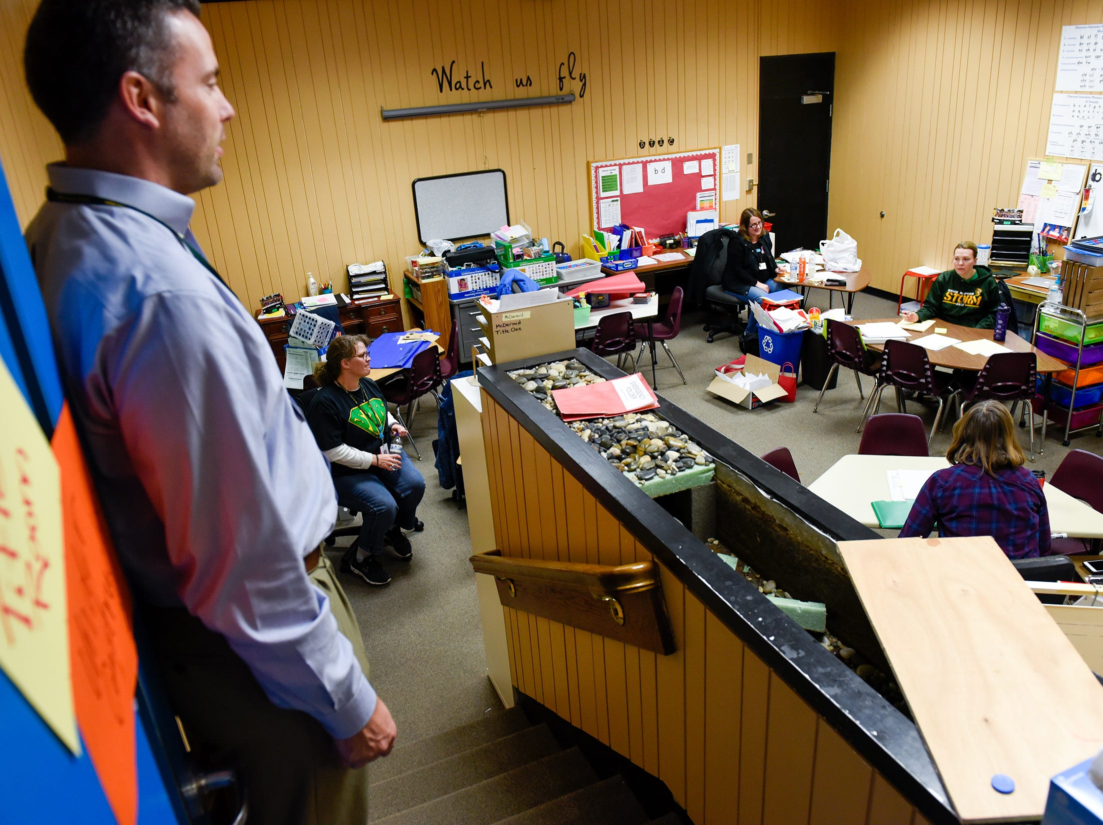 Sauk Rapids-Rice Superintendent Aaron Sinclair check on Title 1 teachers who combined their classrooms into the teachers lounge Tuesday, Jan. 15, at Pleasantview Elementary School in Sauk Rapids.