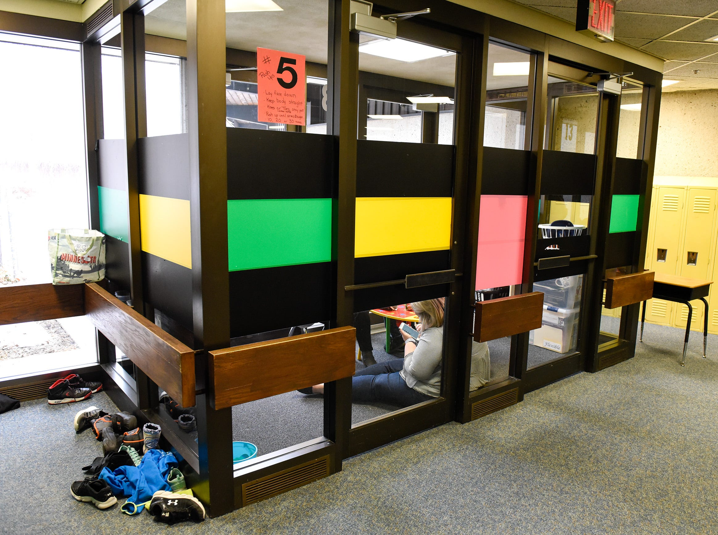 Staff adopted a corner of an entryway for lunch Tuesday, Jan. 15, since the teachers lounge is now a classroom at Pleasantview Elementary School in Sauk Rapids.