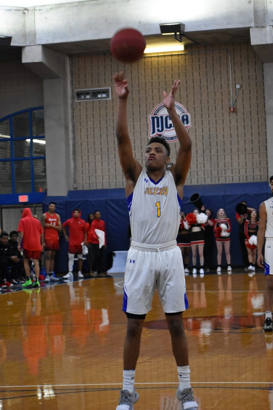 TCC's Eric Boone shouts a free throw versus Northwest Florida State College.