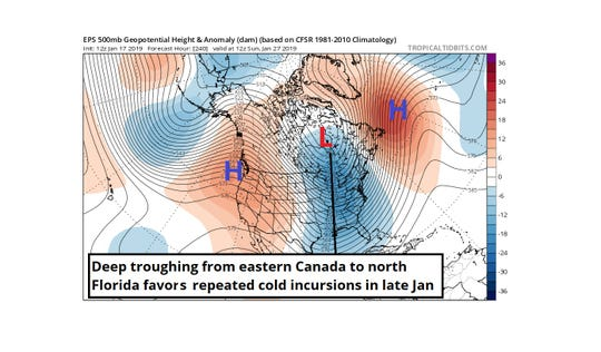 Deep troughing from eastern Canada to north Florida favors repeated cold incursions in late January.