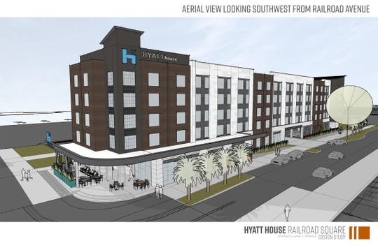 Hyatt House will be a five-story, 120 room hotel at the entrance of Railroad Square Art Park, along with a 6,000 square-foot adjacent building for retail. Construction begins April 2019.
