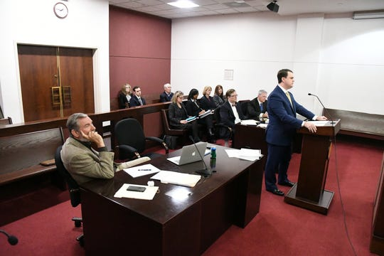 A final hearing on whether Tallahassee city commissioners violated the Sunshine Law when filling a vacant commission seat was held Thursday in Leon Circuit Court. C.B. Upton, lawyer for local businessman Erwin Jackson, who filed the lawsuit, presents his case before Leon Circuit Judge John Cooper.