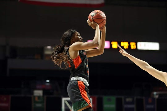 FAMU junior forward Dy'Manee Royal pulls up for a jumper against Miami. She ranks second on the team in scoring at 9.3 points per game.