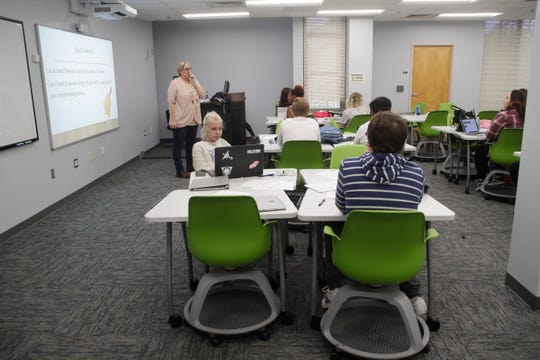 Tricia Rizza teaches an integrated reading and writing course at Tallahassee Community College Thursday, Jan. 17, 2019. TCC is focusing on smaller class sizes.