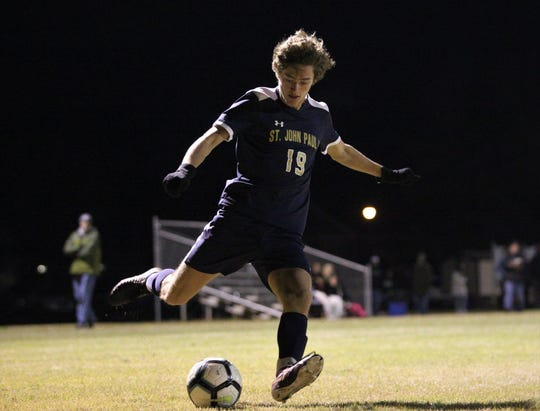 St. John Paul II senior forward Braidan O'Connor takes a shot during a 6-1 win over Rickards on Wednesday during Senior Night. O'Connor scored two goals.