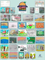 The Vero Beach Centennial Art and Poster Competition poster is comprised of illustrations that include of Vero Beach landmarks.
