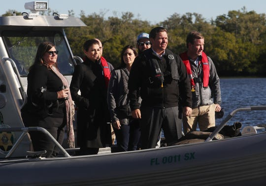 Gov. Ron DeSantis (center) tours THursday, Jan. 10, 2019, with Julie Wraithmell (from left), of Audubon Florida, first lady Casey DeSantis, Lt. Gov. Jeanette Nunez, Daniel Andrews, of Captains for Clean Water, and Eric Eikenberg, of  Everglades Foundation. DeSantis took a brief boat ride with the Florida Fish and Wildlife Conservation Commission at the Florida Gulf Coast University Vester Marine and Environmental Science Research Field Station in Bonita Springs during his visit.