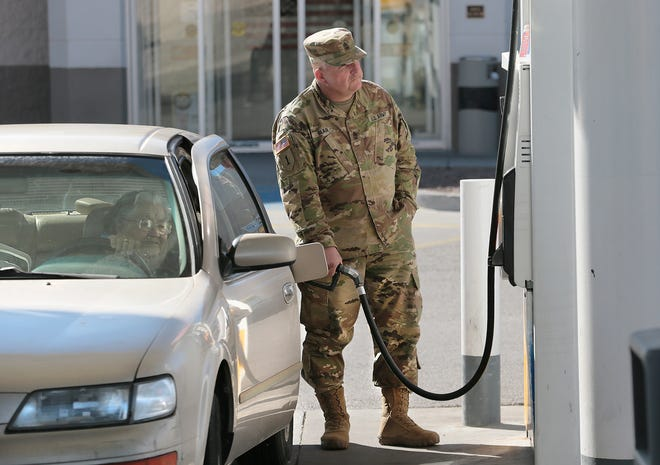 On Thursday, 1st Sgt. David Blair stopped to pump gas for 87-year-old El Pasoan Emma Ochoa at the Shell station at U.S. 54 and McCombs Street. When Blair saw the elderly woman struggling to pump her fuel, he rushed to help. He was part of a convoy on the way to the ranges north of El Paso when he stopped. After noticing she hadn't purchased a full tank of fuel, he pulled out his own debit card to continue filling the tank. Blair is with the 284th Engineering Company from Seagoville, Texas, which was training at Fort Bliss for deployment to Kuwait and Afghanistan. They were set to deploy Friday.