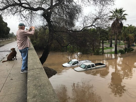 During a round of storms two weeks ago, flooding at the Ventura Beach RV Resort partially submerged some vehicles.