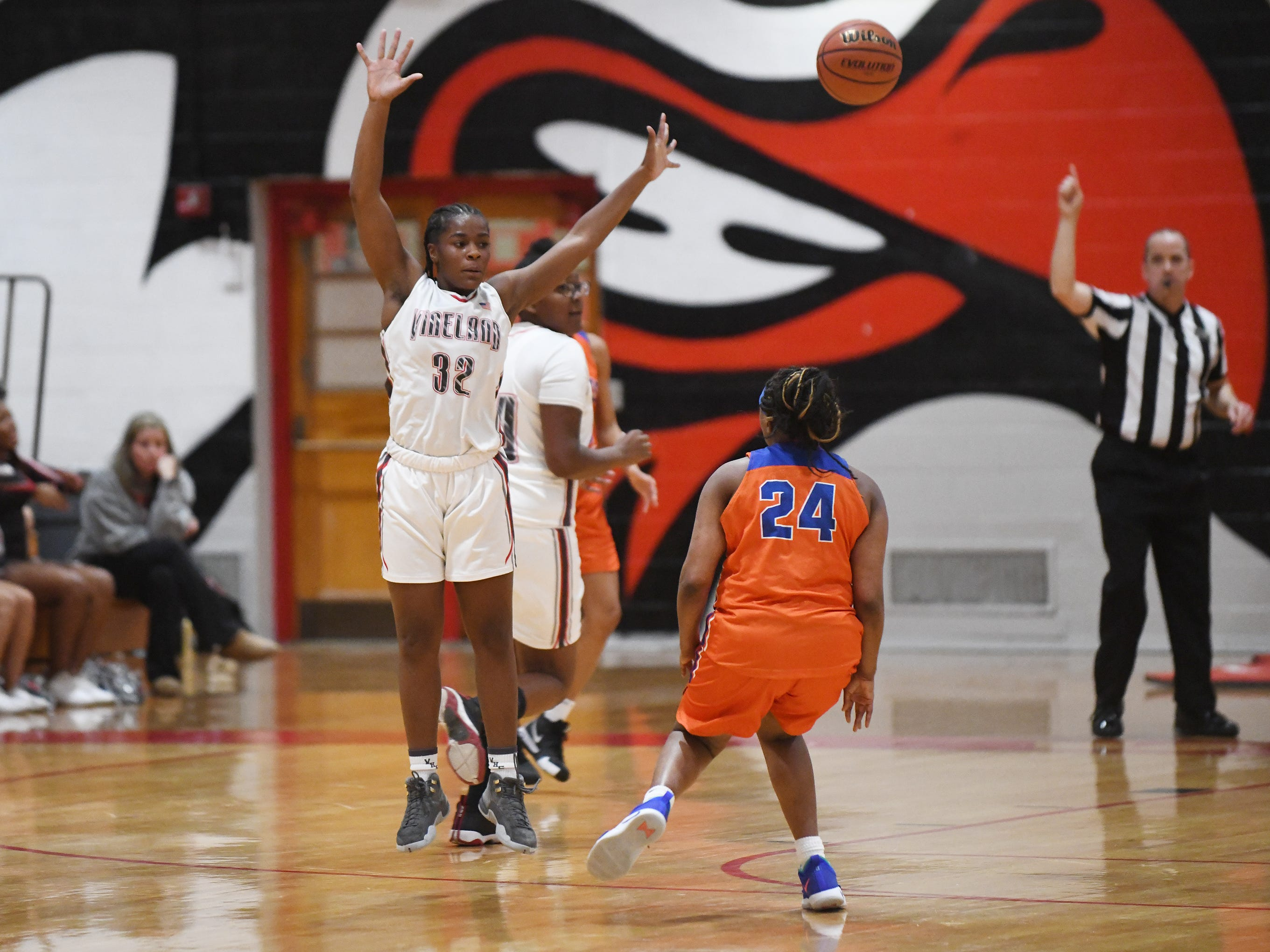 Vineland High School senior Briel Herbert became a member of the girls' basketball team's 1,000-point club during a 57-35 triumph over Millville on Wednesday, Jan. 16, 2019.
