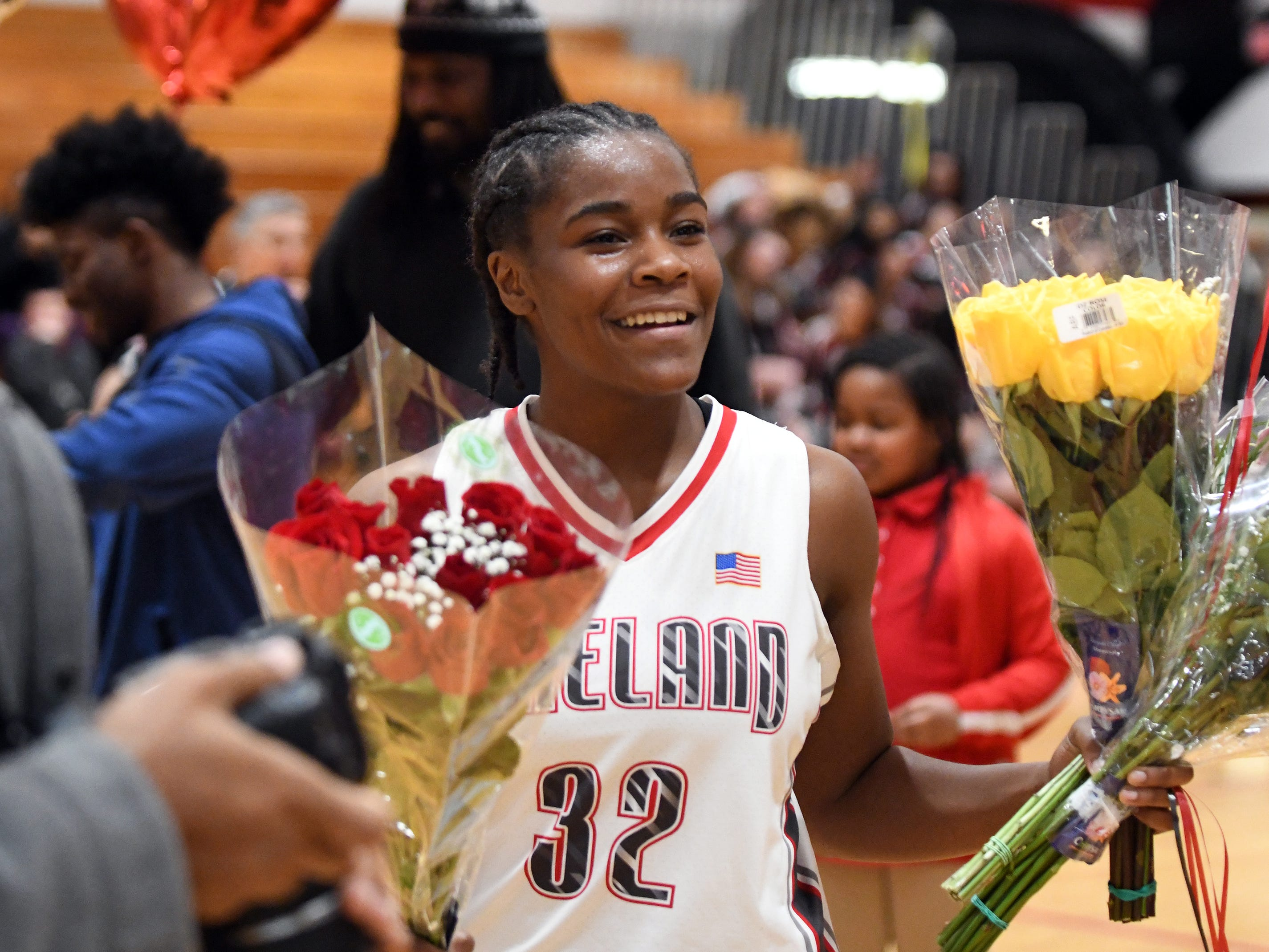 Vineland High School senior Briel Herbert celebrates her 1,000th career point during a game against Millville. The Fighting Clan defeated the visiting Thunderbolts 57-35 on Wednesday, Jan. 16, 2019.