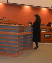 Senovia Gutierrez, Tulare hospital board member, speaks at council meeting on Wednesday.
