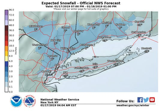 Snow is expected to fall in the Lower Hudson Valley on Thursday night into Friday morning.