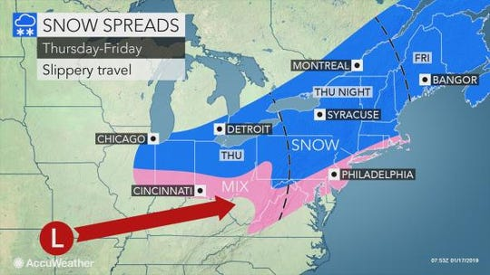 Snow is expected to hit the Lower Hudson Valley on Thursday night into Friday morning.