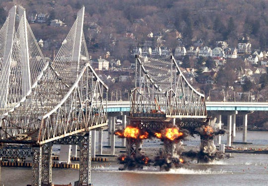 One of the remaining sections of the Tappan Zee Bridge is demolished with explosives Jan. 15, 2018.