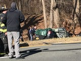 Westchester County Police investigate a single car fatal accident on the Saw Mill River Parkway northbound at Green Lane in Bedford Jan. 17, 2019.
